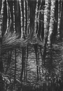Reflection no 4 (2016) charcoal/paper, 42x30 cm